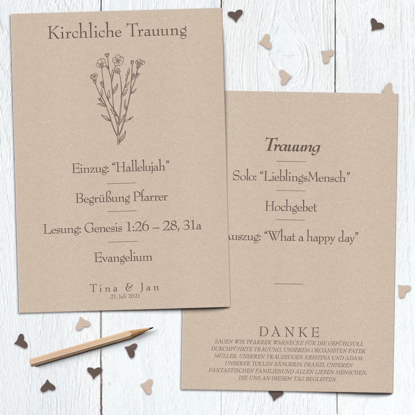 Kirchenheft text danksagung hochzeit Kirchenheft Hochzeit