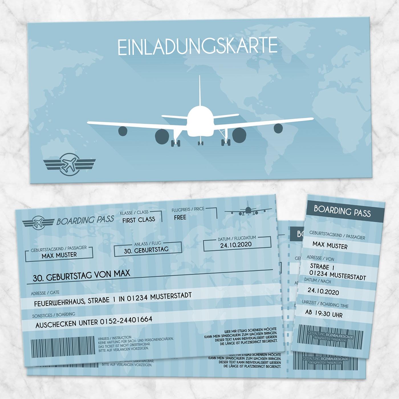 Einladungskarte Flugticket