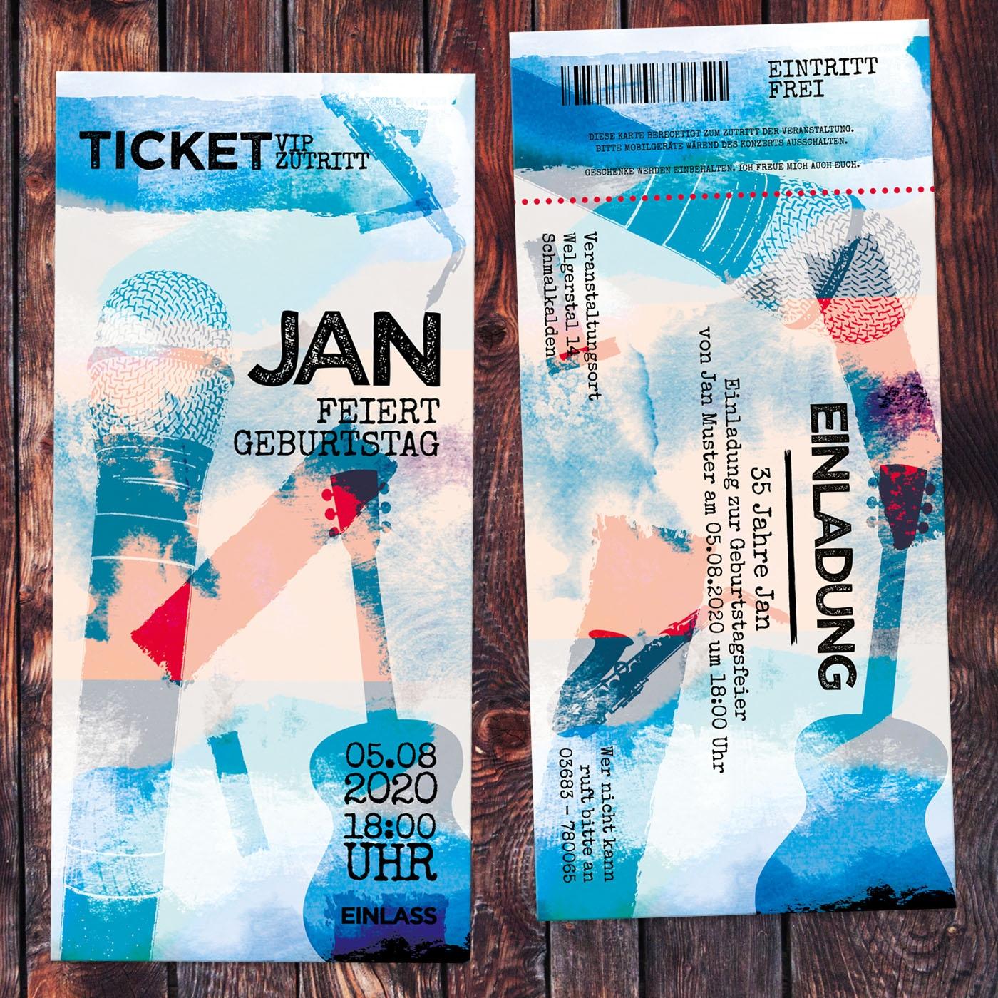 Einladungskarte Musik Konzert Ticket