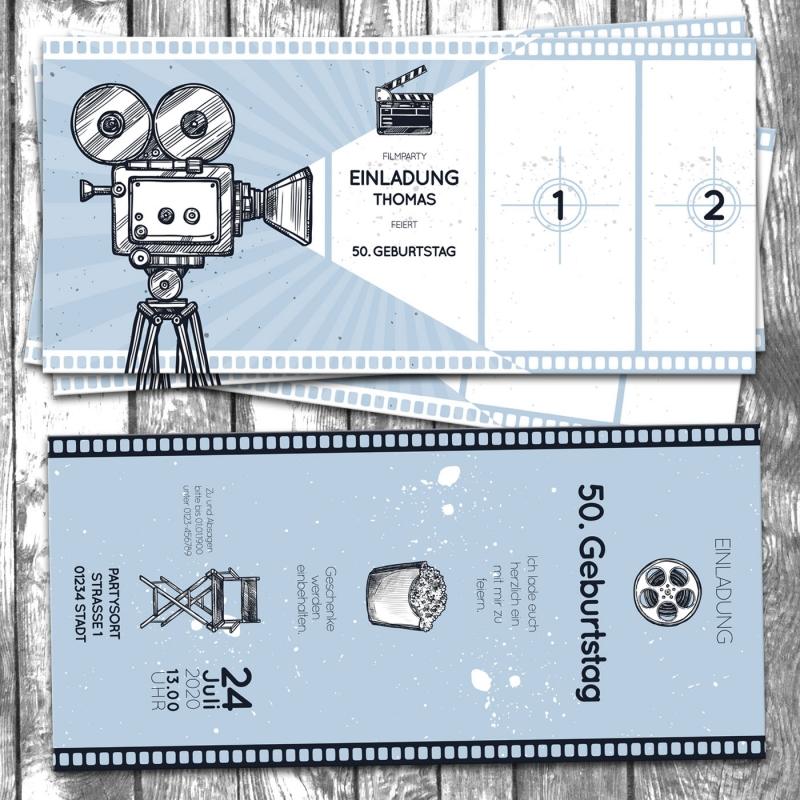 Einladungskarte Kino Ticket