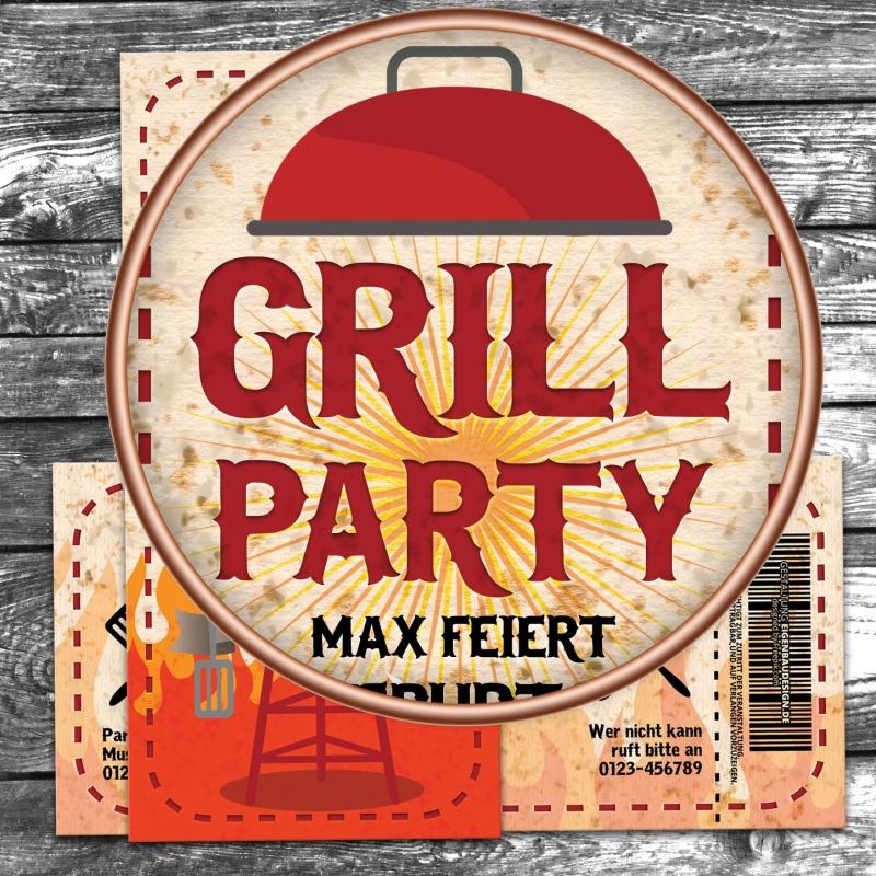 Einladungskarte Grill BBQ Garten