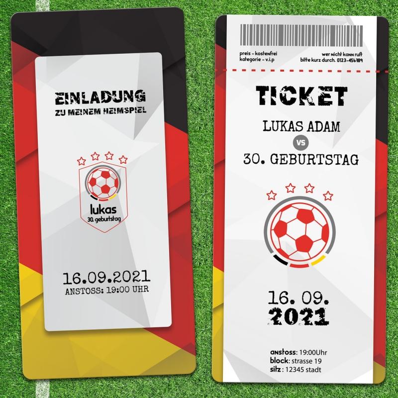 Einladungskarte Fußball Ticket