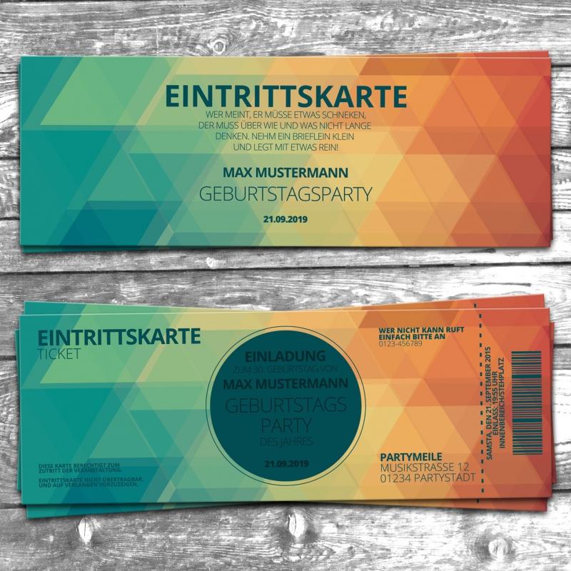 Partyeinladung zum Geburtstag Eintrittskarte Ticket Flugticket Design lustig