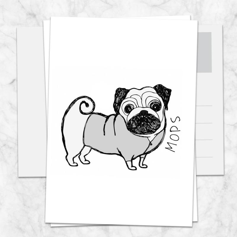 Postkarte Mops