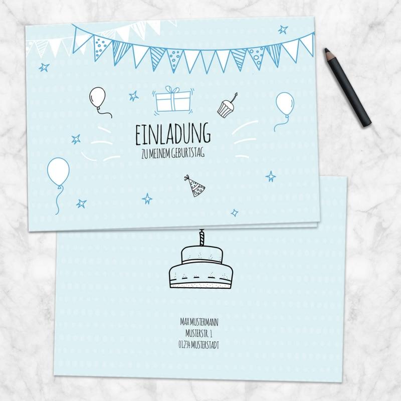 Einladungskarte Klappkarte Geburtstag