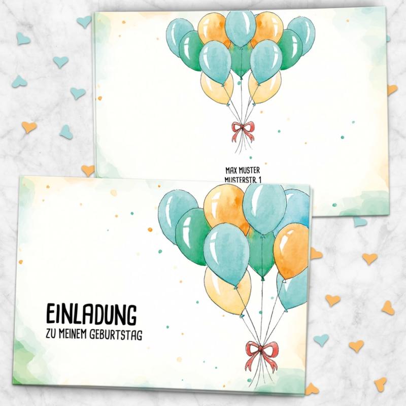 Einladungskarte Klappkarte Ballons
