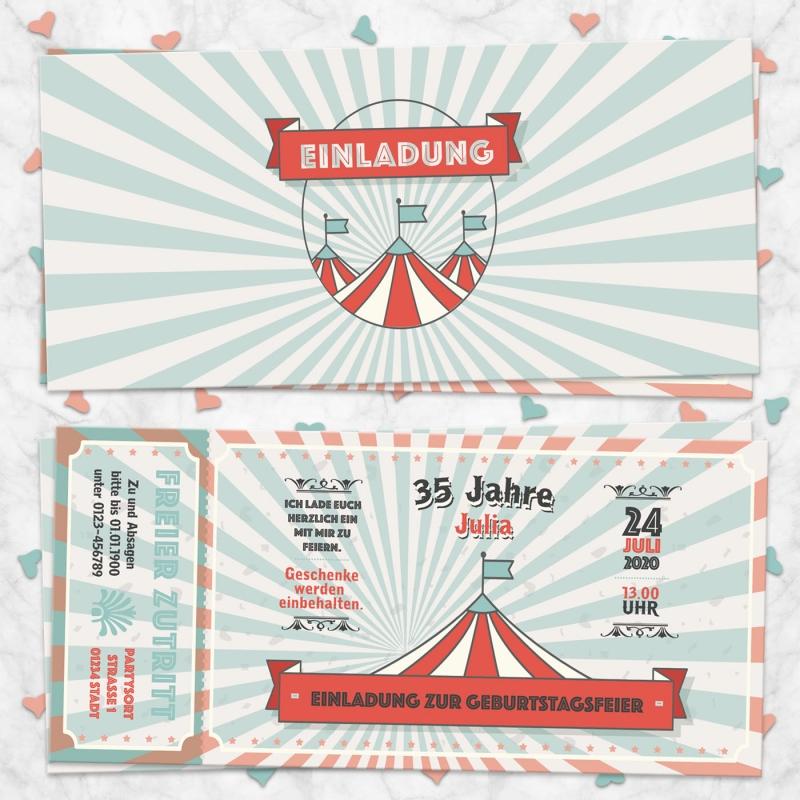 Einladungskarte Zirkus Ticket