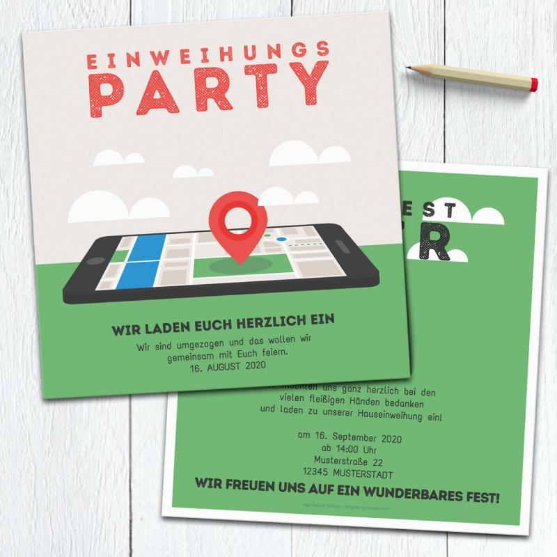 Einladungskarte EinweihungsParty