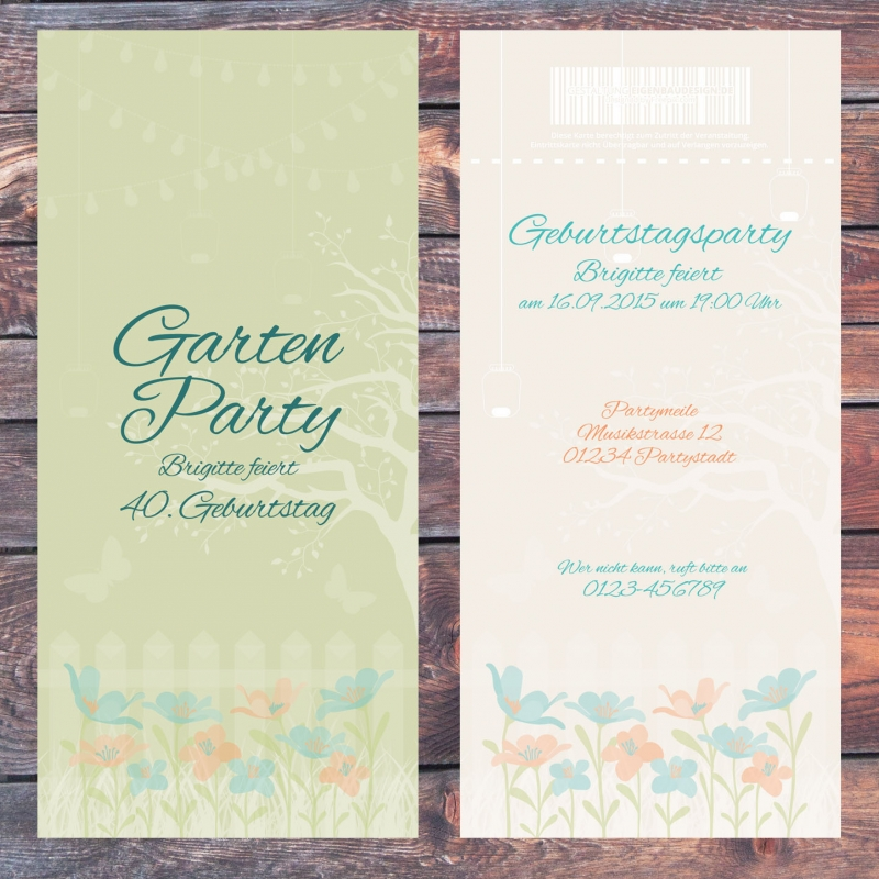 Einladungskarte Gartenfeier