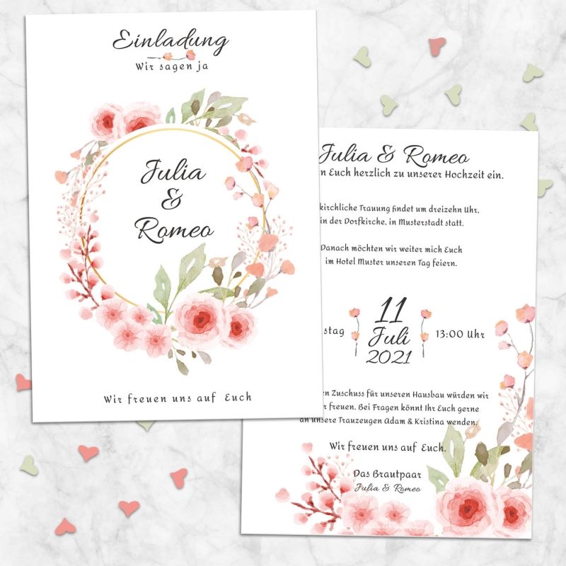 Einladungskarte Hochzeitsglück
