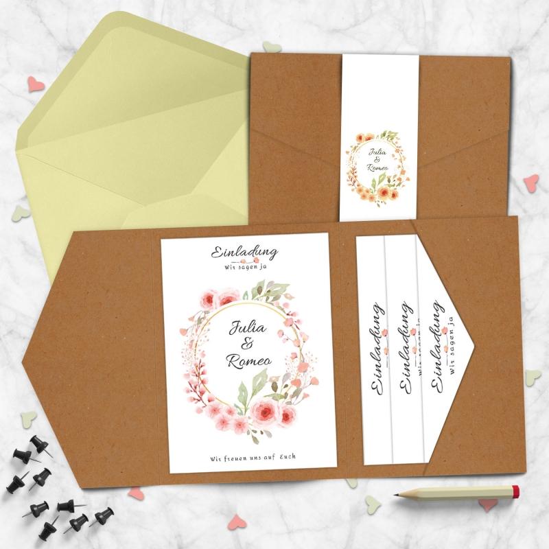 Pocketfold Karte Hochzeitsglück